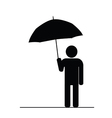 man with umbrella black vector image vector image
