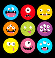 monster head round icon set boo spooky screaming vector image vector image