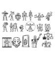robots set sketch vector image vector image