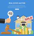 sale real estate at auction vector image vector image
