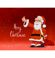 santa carrying bag on red background vector image vector image