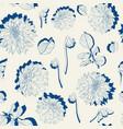 seamless pattern vintage colors line dahlia vector image vector image