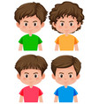 set of boy character different hairstyle vector image vector image