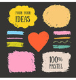 Set of chalk pastel brush strokes and design vector image vector image