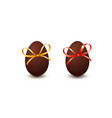 set of chocolate easter eggs with bow knot and vector image