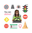 set of road symbols and black african american vector image vector image