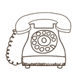 silhouette antique phone icon with cord vector image vector image