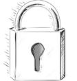 Sketch lock icon vector image vector image