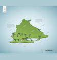 stylized map nicaragua isometric 3d green map vector image vector image