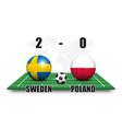 sweden vs poland soccer ball with national flag vector image