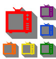 tv sign set of red orange yellow vector image vector image