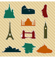World landmark silhouettes set vector image vector image