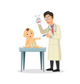 young doctor pediatrician performs a vaccination vector image vector image