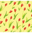 Seamless background with colored tulips vector image