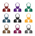 gray beard icon in black style isolated on white vector image
