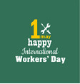 1 may - labour day logo concept with wrenches vector image vector image