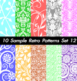 10 Retro Patterns Textures Set 12 vector image vector image