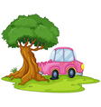 A pink car bumping the giant tree vector image