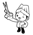 black and white cook mascot is holding a scissors vector image