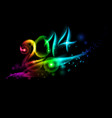 bright new year 2014 numerals in colorful light vector image vector image