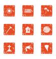 bury icons set grunge style vector image vector image