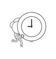 businessman character running and carrying clock vector image vector image