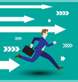 businessman running forward with white arrows vector image vector image