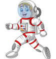 cartoon astronaut walking isolated on white backgr vector image vector image