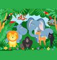cartoon tropical animals wildlife zoo animal vector image
