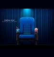 cinema seattheater seat on curtain with spotlight vector image vector image