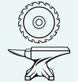 Circular saw blade and anvil vector image vector image