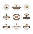 coffee shop logos design templates set vector image