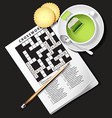 crossword game with cup of green tea and cracker vector image vector image