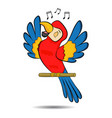 cute cartoon three colored parrot sing song on a vector image vector image