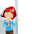 Cute girl with candy-heart keeps banner vector image vector image