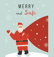cute santa claus standing on winter background vector image vector image