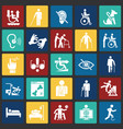 disability icons set on color squares background vector image