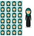 face emotions arab woman set in flat vector image