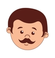 face man cartoon moustache isolated vector image vector image