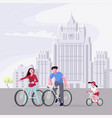 families with child ride bicycles vector image vector image