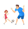 football time sport training father play soccer vector image