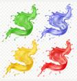fruit juice set colored paint splashes set vector image vector image