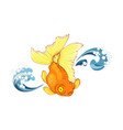 goldfish and wave vector image vector image