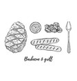 grill barbecue sketch set meat fillet lamb vector image