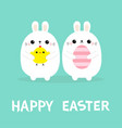 happy easter two bunny holding chicken bird vector image vector image