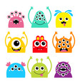 happy halloween monster face head icon set cute vector image