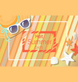 hot summer days banner with sunglasses and hat vector image vector image