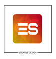 initial letter es logo template design vector image