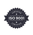 iso 9001 badge on white vector image