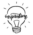 isolated lightbulb inspiration handwritten vector image vector image
